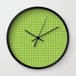 Red And White Polka Dot Christmas Pattern Wall Clock
