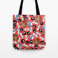 studio ghibli Tote Bags featuring Ghibli Pattern by pkarnold + The Cult Print Shop