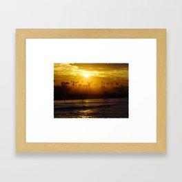 Misty Sunrise * Huntington Beach, California Framed Art Print