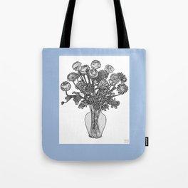 Spring Flowers in Vase on Robin's Egg Blue Background Tote Bag