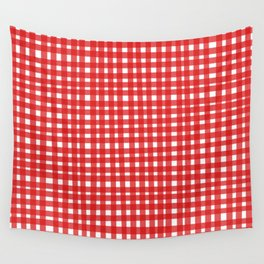 Red Gingham Wall Tapestry