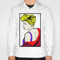 lichtenstein Hoodies featuring Robyn - Roy Lichtenstein Inspired Portrait 2 by Alli Vanes