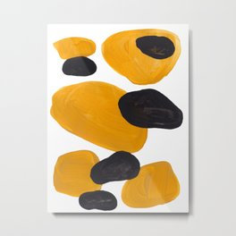 Mid Century Abstract Black & Yellow Fun Pattern Floating Mustard Bubbles Cheetah Print Metal Print