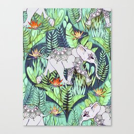 Little Elephant on a Jungle Adventure - faded vintage version Canvas Print