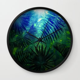 Blue Aloha- Morning Light abstract Tropical Palm Leaves and Monstera Leaf Garden Wall Clock