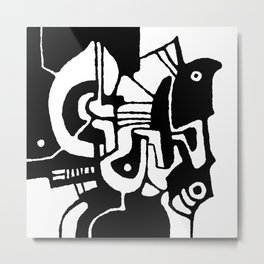 Attack № 200 (abstract digital black and white art) Metal Print