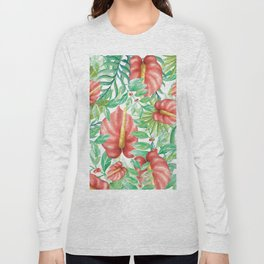Tropical green red watercolor summer floral pattern Long Sleeve T-shirt
