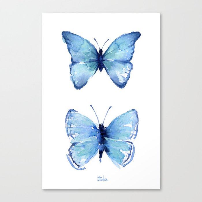 Two Blue Butterflies Watercolor Leinwanddruck