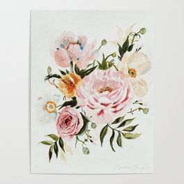 Loose Peonies & Poppies Floral Bouquet Poster