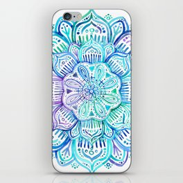 Iridescent Aqua and Purple Watercolor Mandala iPhone Skin