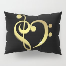 Treble clef, bass clef music heart love Pillow Sham