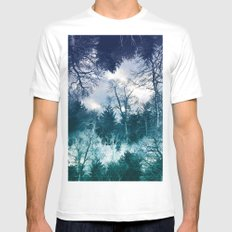 Moonlit Forest White MEDIUM Mens Fitted Tee