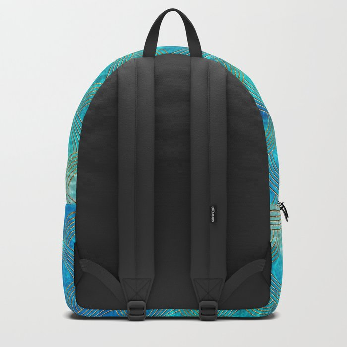 Sea Ocean Waves effect- Gold and Aqua Scales Pattern Backpack