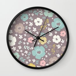 Cute Colorful Flowers And Leafs Wall Clock