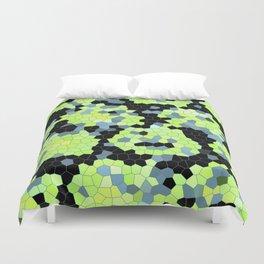 Cell Print Home Decor Graphic Design Pastel Colors Green Grey Blue Black Mint Lime Kiwi Duvet Cover
