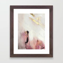 Sunrise [2]: a bright, colorful abstract piece in pink, gold, black,and white Framed Art Print