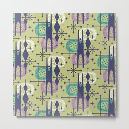 Retro Atomic Mid Century Pattern Blue Green Purple and Turquoise Metal Print