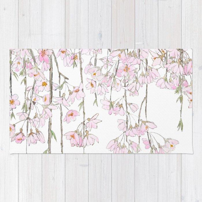 pink cherry blossom spring 2018 Rug