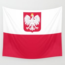 State flag of Poland with Coat of Arms Wall Tapestry