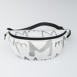 Watercolor M's - Grey Gray Fanny Pack