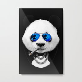 Panda Bear Black Metal Print