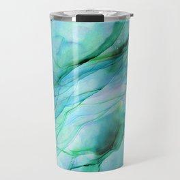 Sea Green Flowing Waves Abstract Ink Painting Travel Mug