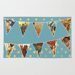 vintage circus acts and animals bunting flags Rug