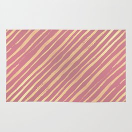 Pink Passion Gold Stripes Rug