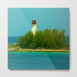 Lighthouse by the Ocean Metal Print