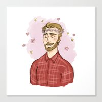 chris evans Canvas Prints featuring Beardy Evans by Otterpop
