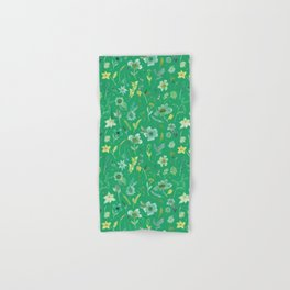 Verdant Flowers on Emerald Background Hand & Bath Towel