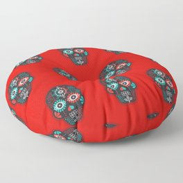 Día de Muertos Calavera • Mexican Sugar Skull – Black & Turquoise on Red Starburst Floor Pillow