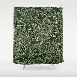 Hand painted gold forest green modern floral Shower Curtain