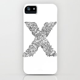 Floral Type - Letter X iPhone Case