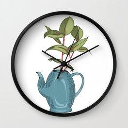 Rubber Plant Tea Pot Wall Clock