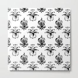 Vintage black white elegant floral damask Metal Print