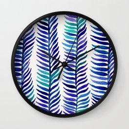 Indigo Seaweed Wall Clock