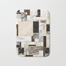 Random Pattern - Black and White Marble Bath Mat