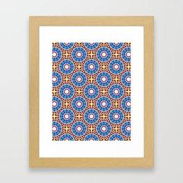 Maroccan style Mandala - White, blue, orange- Mandala Fractal Framed Art Print