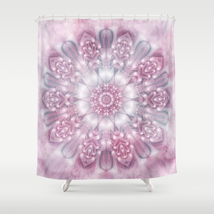 Dreams Mandala In Pink Grey Purple And White Shower Curtain