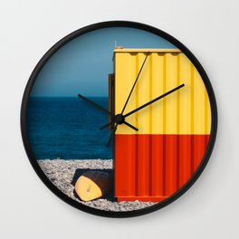Yellow, red and shades of blue Wall Clock