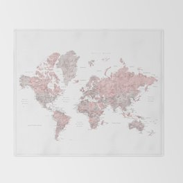 Dusty pink and grey detailed watercolor world map Decke