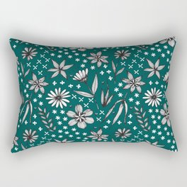 black and white floral on a dark teal background Rectangular Pillow