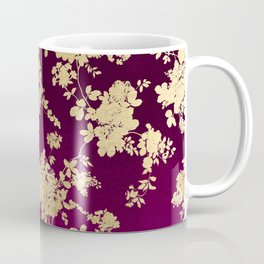 Chic faux gold burgundy ombre watercolor floral Coffee Mug