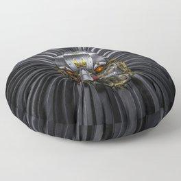 Hear Me Roar / 3D render of serious metallic robot lion Floor Pillow