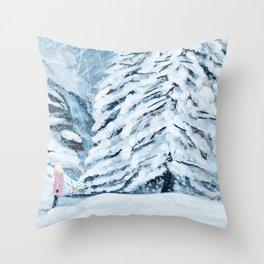 Secret snow garden Throw Pillow