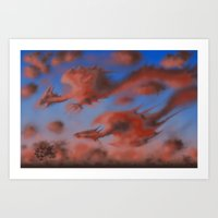 dragons Art Prints featuring Dragons by Averin Art