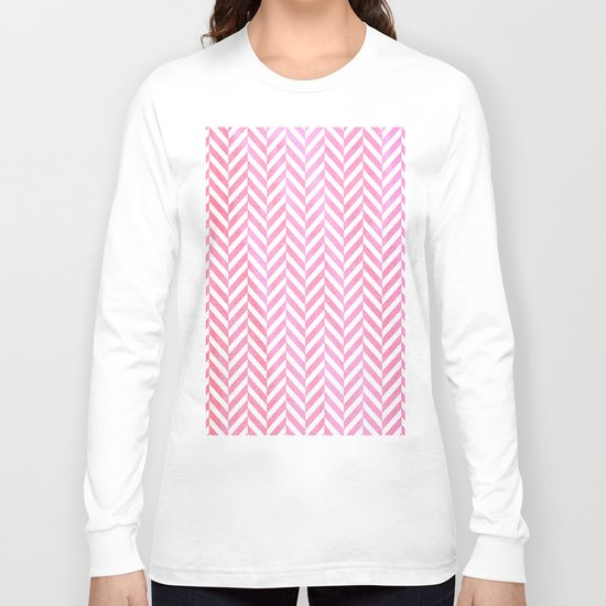 Watercolor Herringbone Chevron pattern - pink on white Long Sleeve T-shirt