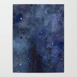 Galaxy Nebula Watercolor Night Sky Stars Outer Space Blue Texture Poster