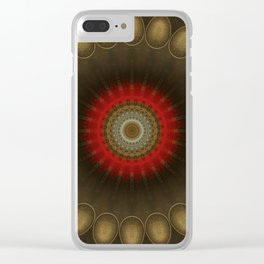 Mandala in brown, red and golden tones Clear iPhone Case
